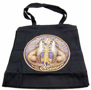 Hippy Bag~Pagan Hippy Moon Gazing Wolf Tote Shopper Bag~Fair Trade By Folio Gothic Hippy 95870